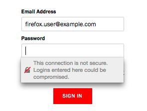 Directe waarschuwing voor gebruiksnaam- en wachtwoordvelden in de komende Firefox-update