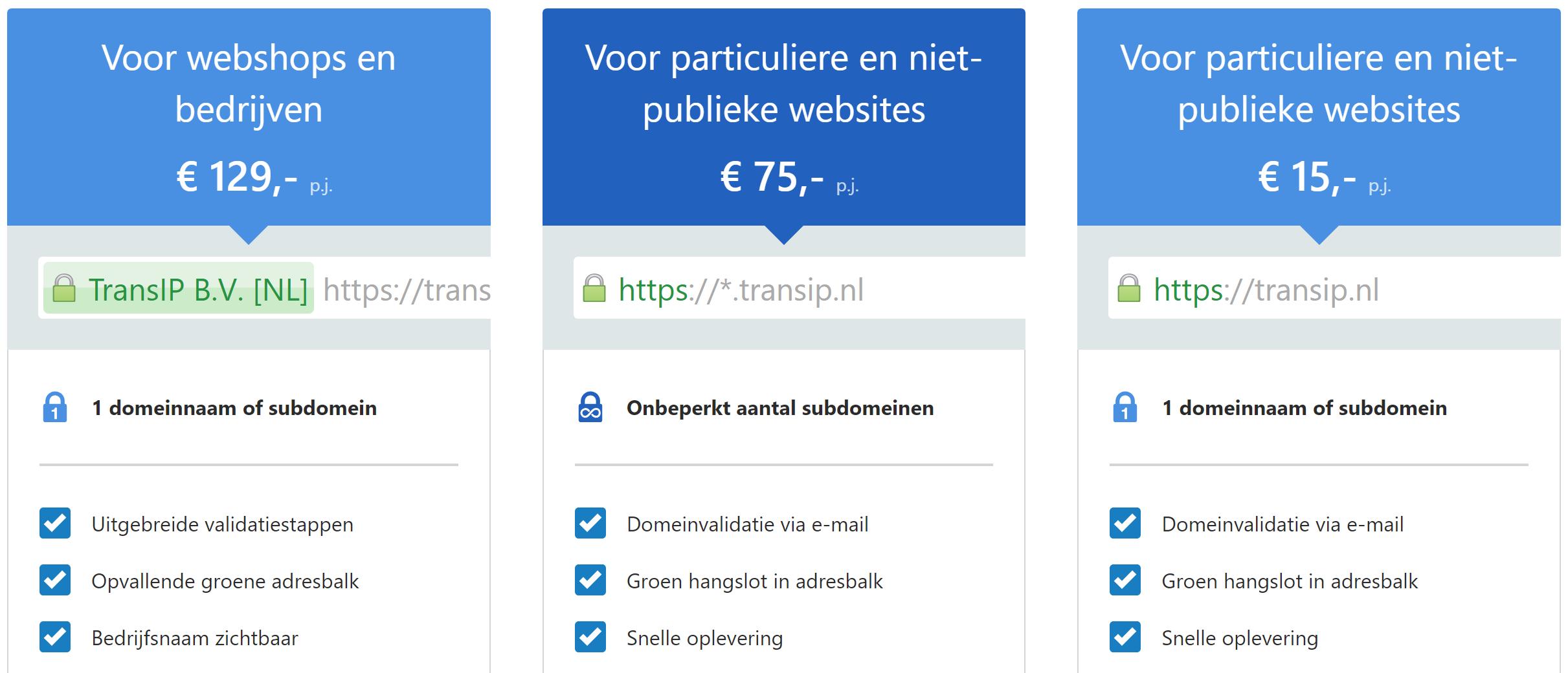 Comodo SSL-pakketten bij TransIP
