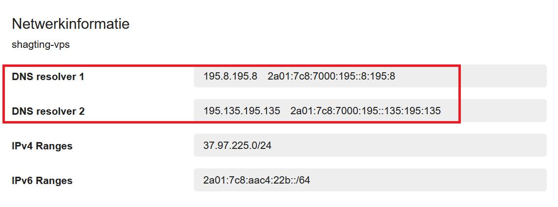 cp vps netwerkinformatie dns resolvers