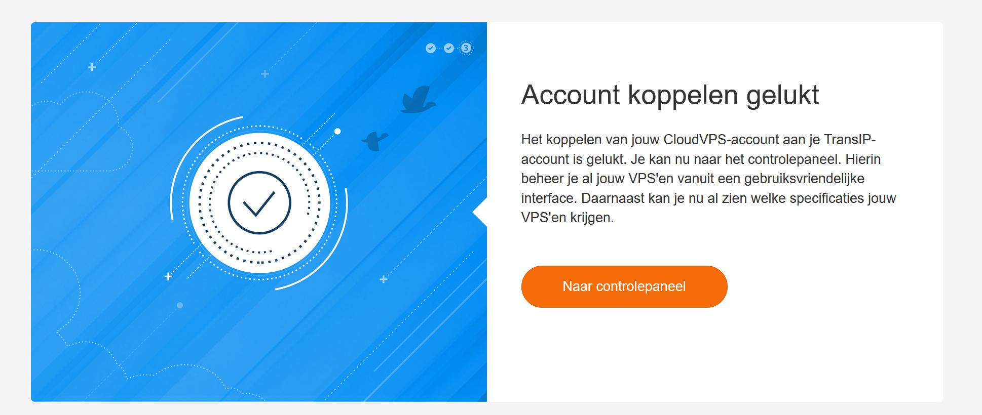 cloudvps claim account koppelen gelukt