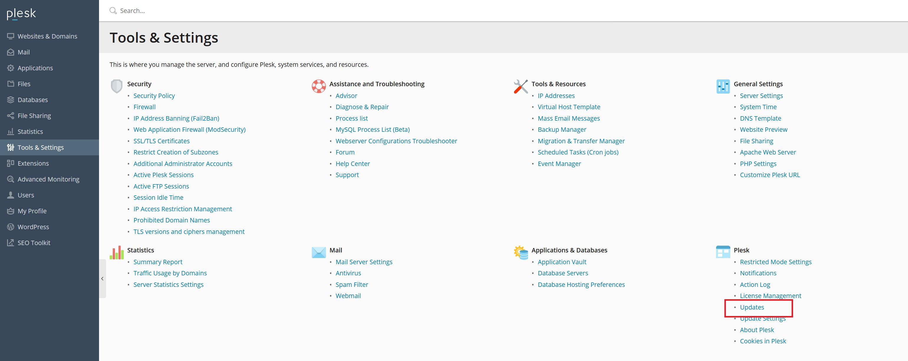 plesk tools and settings plesk updates