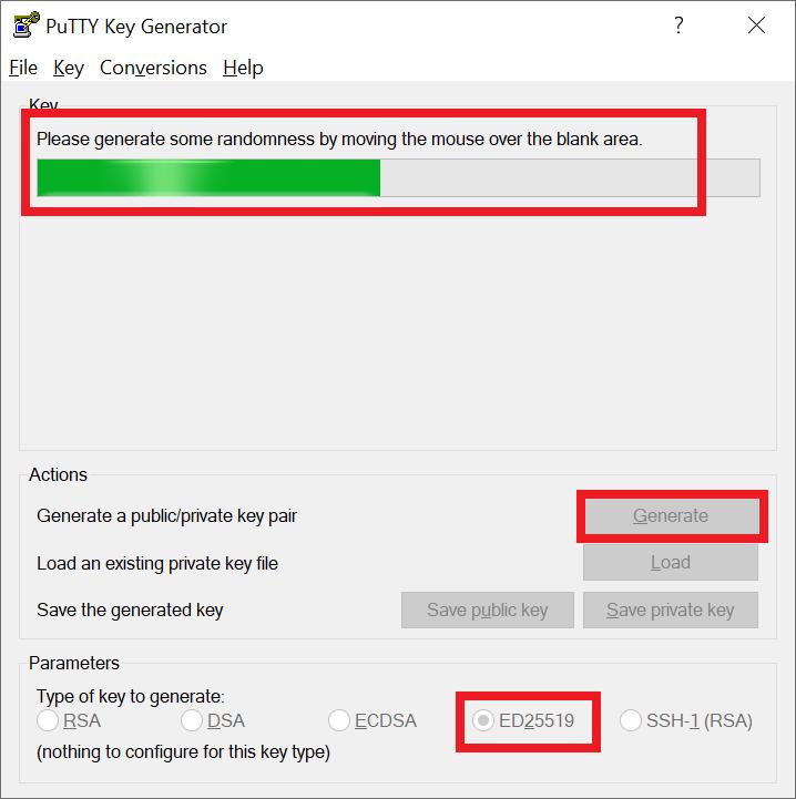puttygen generate key