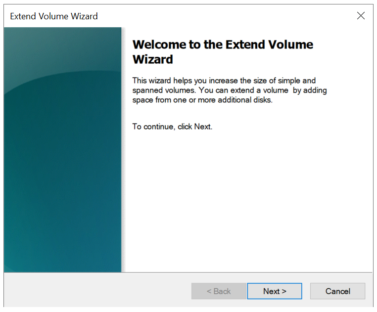 windows extend volume wizard start