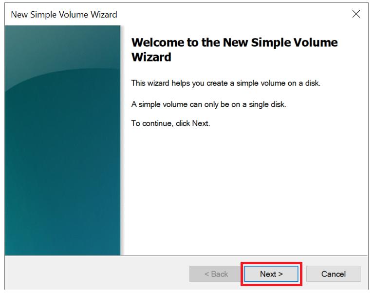 windows new simple volume wizard