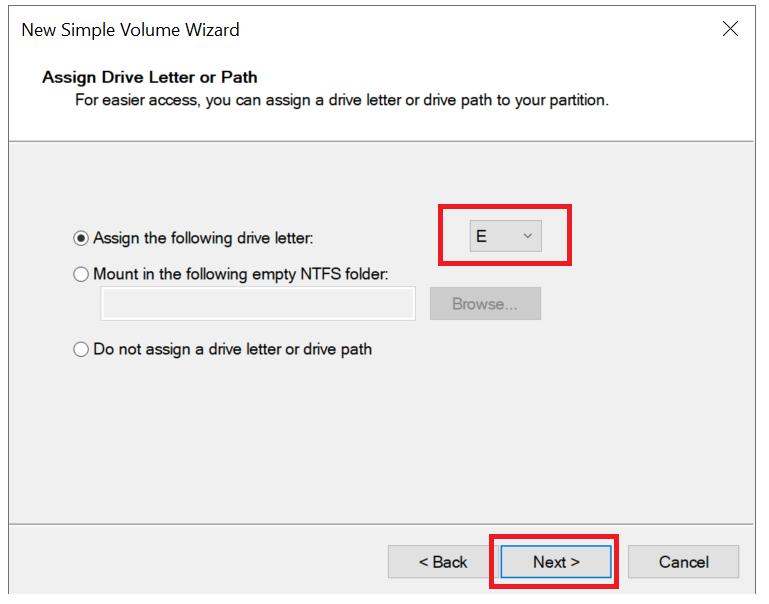 windows server new volume drive letter