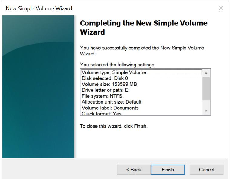 windows server new volume finish