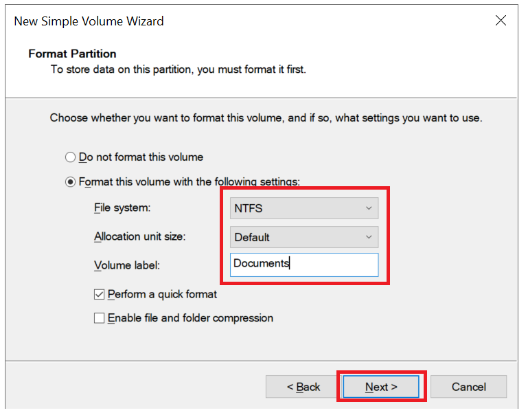 windows new volume wizard format partition