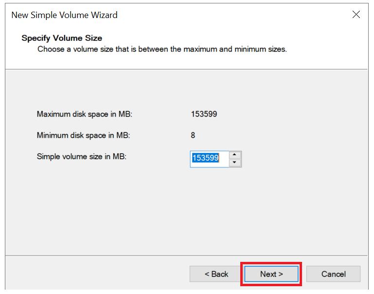 windows new volume wizard specify size