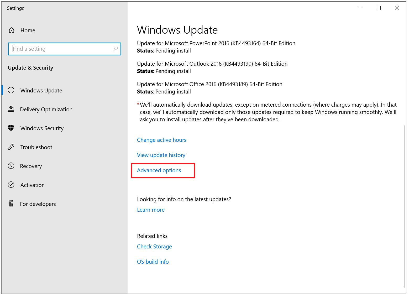 windows updates advanced