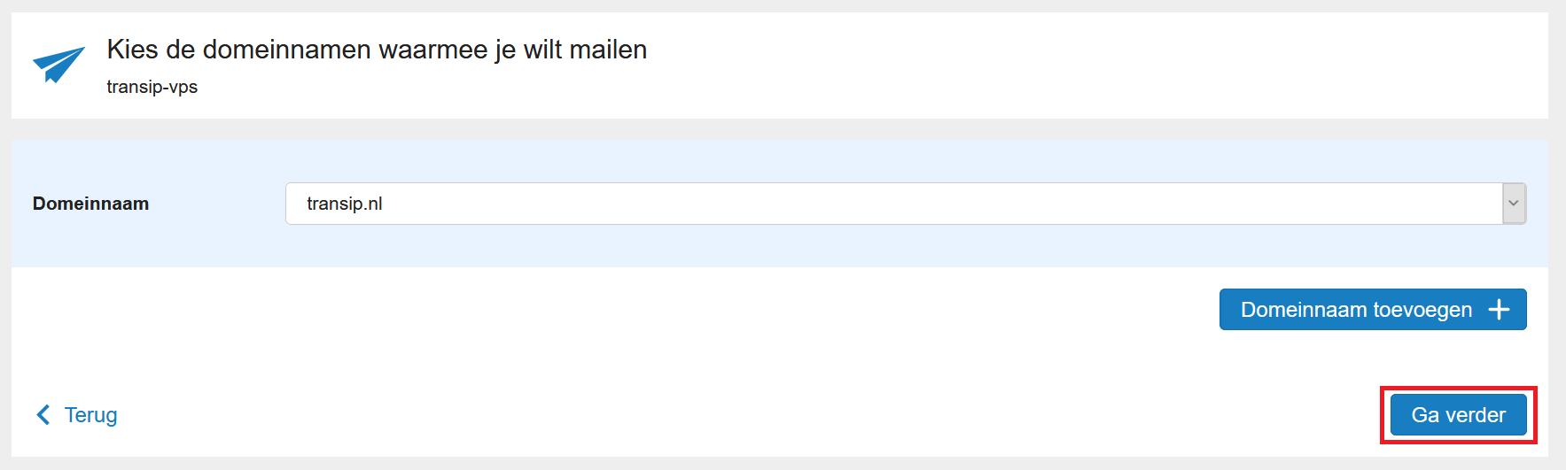 mailservice selecteer domein