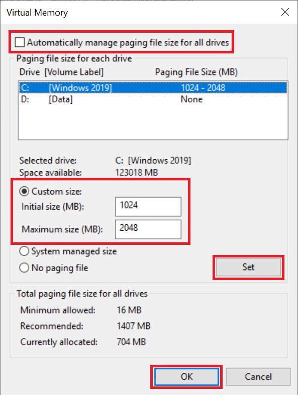 windows virtual memory custom size
