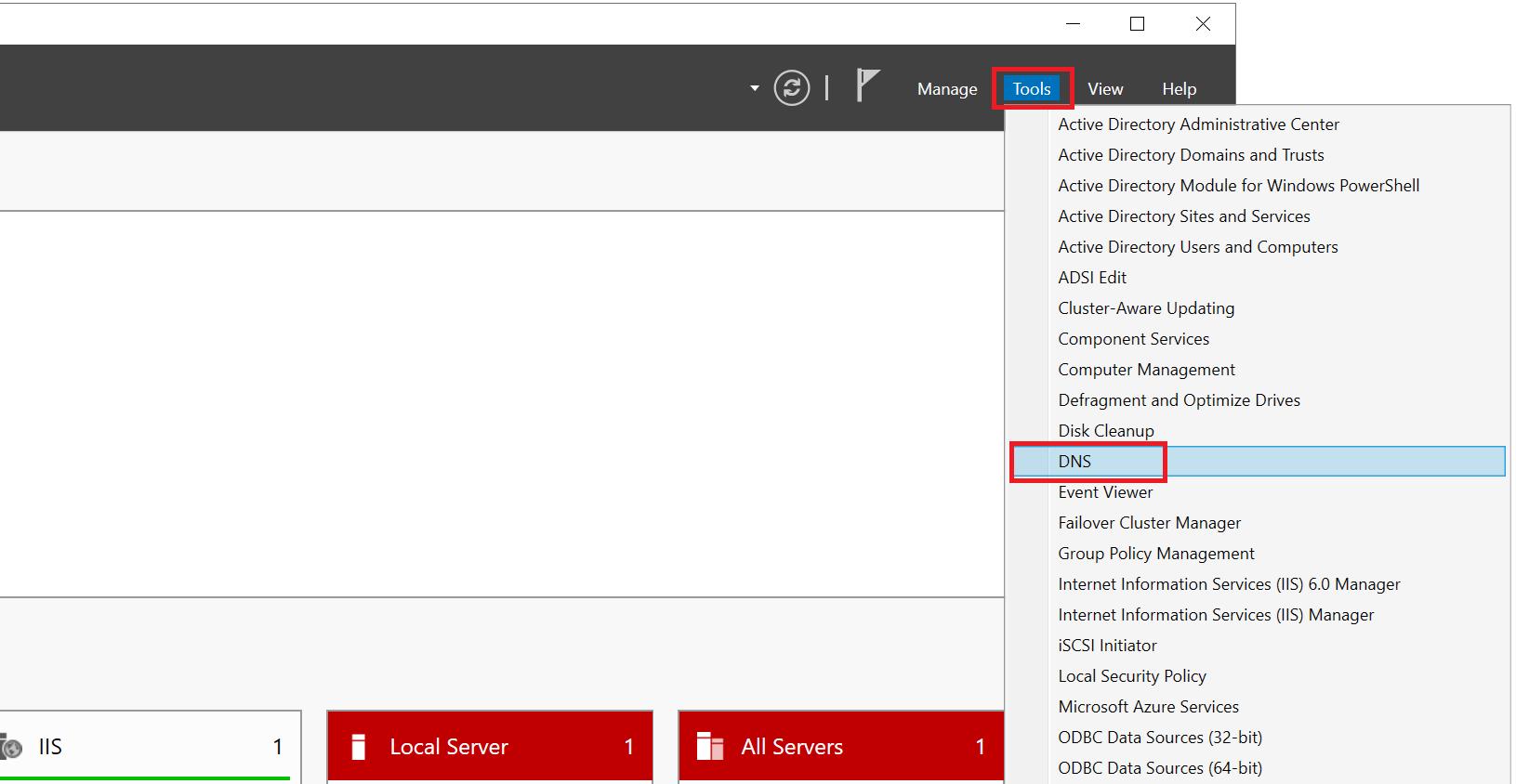 windows server manager tools dns