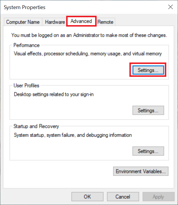 windows system properties advanced performance settings