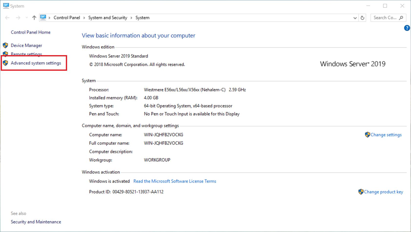 windows system advanced system settings