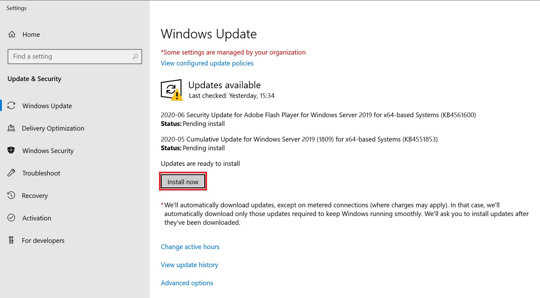 windows update install now